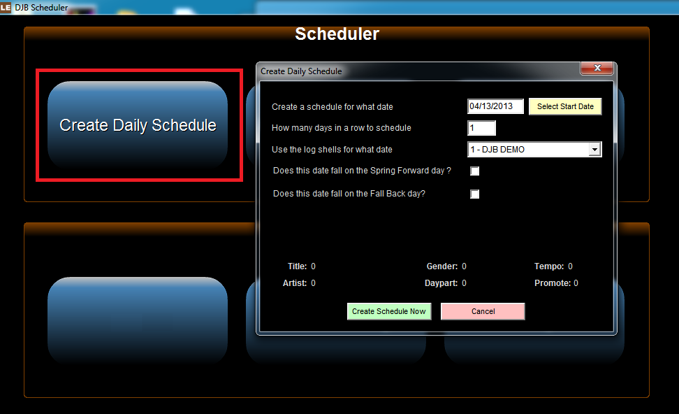 module create daily schedule window